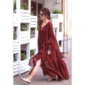 H&M Bloggers Fav Grecian RUST Wide Dress